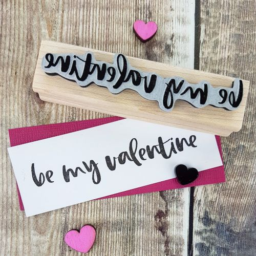Be My Valentine Script Rubber Stamp