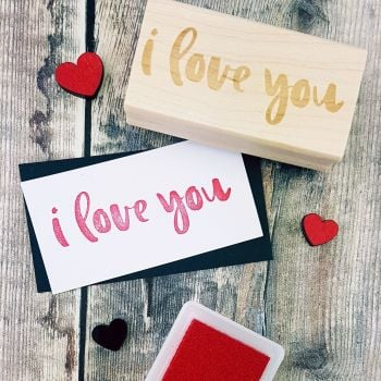 I Love You Script Rubber Stamp