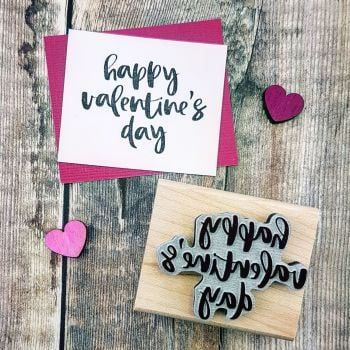 Happy Valentines Day Script Rubber Stamp