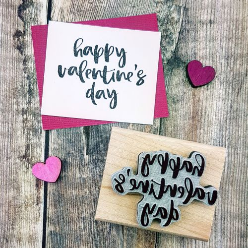 ***NEW FOR 2018*** Happy Valentines Day Script Rubber Stamp