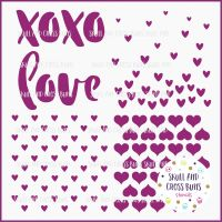 Brush Heart Pattern Large Stencil