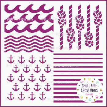 Nautical Pattern Large Stencil