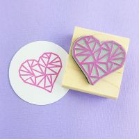 Geometric Heart Rubber Stamp