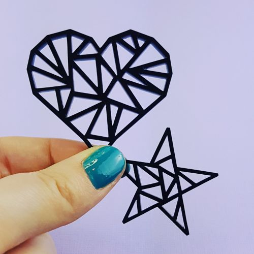 Geometric Heart and Star Jumbo Embellish! Set of 2