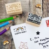 Rainbow Happy Mail Rubber Stamp