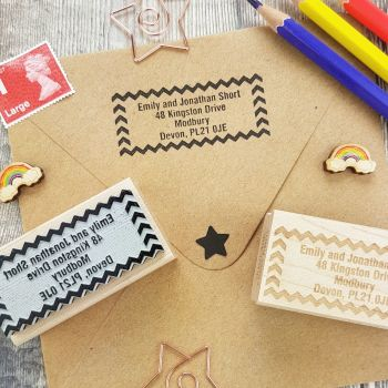 Personalised Chevron Address Rubber Stamp