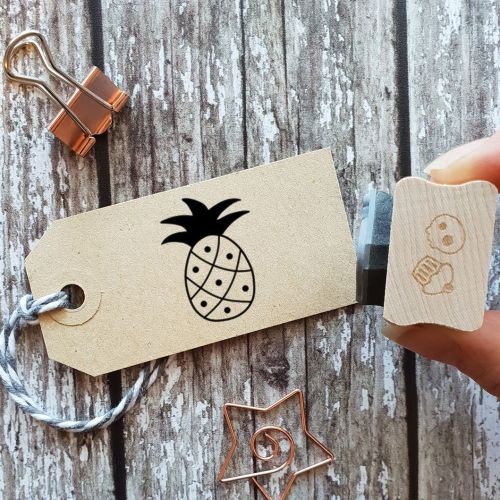 Small Tropical Pineapple Rubber Stamp
