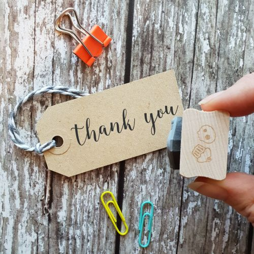 Thank You Script Rubber Stamp