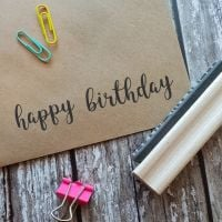 Happy Birthday Script Rubber Stamp