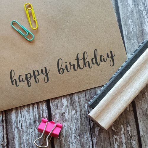 Happy Birthday Script Rubber Stamp