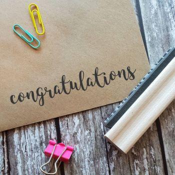 Congratulations Script Rubber Stamp