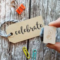 Celebrate Script Rubber Stamp