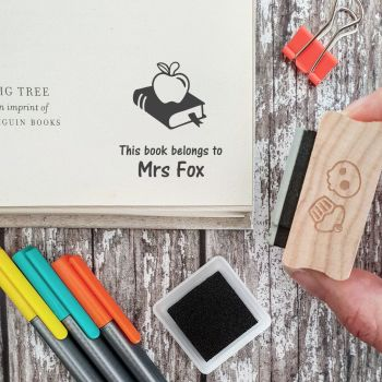 Personalised Book Teacher Rubber Stamp Gift