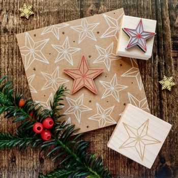 Christmas Bevelled Star Rubber Stamps