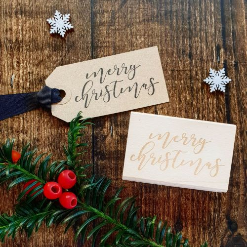 ***NEW FOR 2018*** Merry Christmas Calligraphy Script Rubber Stamp