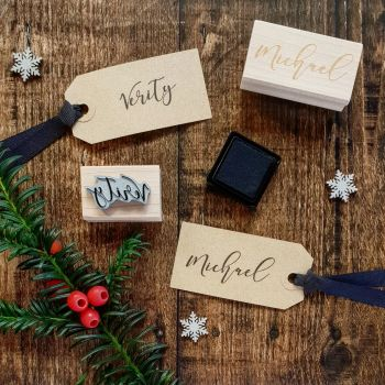 ***NEW FOR 2018*** Personalised Calligraphy Script Name Rubber Stamp
