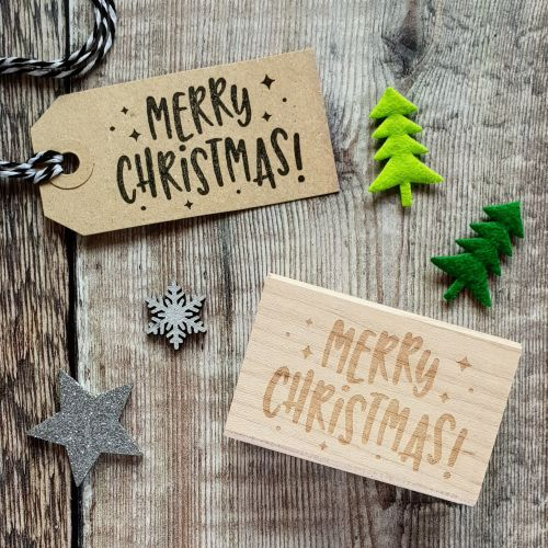 ***NEW FOR 2018*** Merry Christmas Kitsch Style Rubber Stamp
