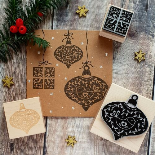 ***NEW FOR 2018*** Christmas Scandi Bauble and Present Rubber Stamps