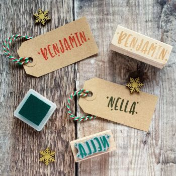 Personalised Kitsch Christmas Name Rubber Stamp