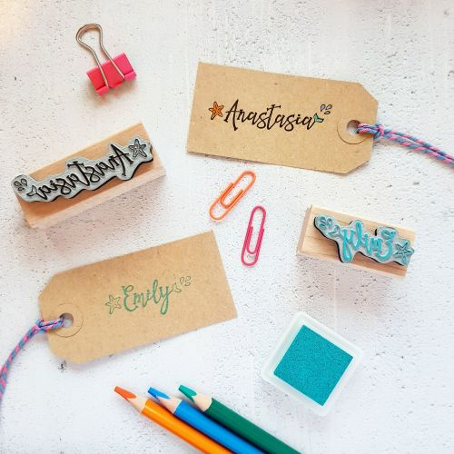 ***NEW FOR 2018*** Personalised Mermaid Tail Name Rubber Stamp