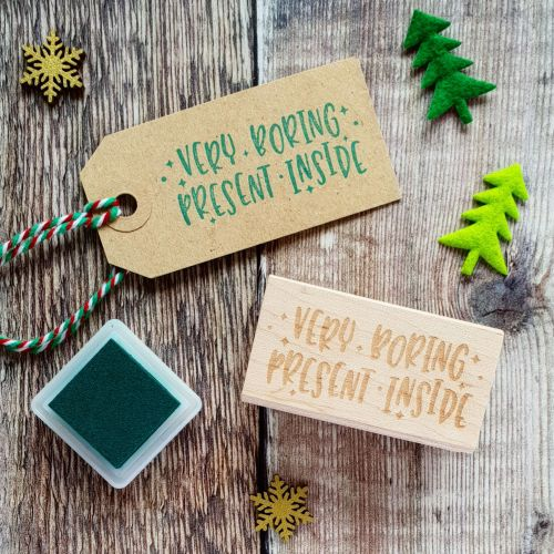 ***NEW FOR 2018*** Very Boring Present Kitsch Style Rubber Stamp