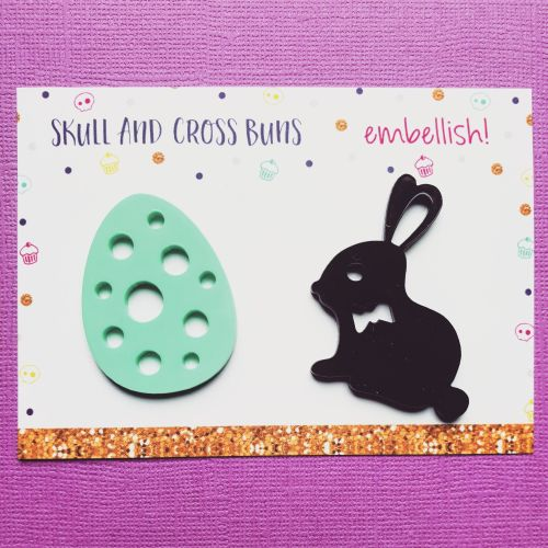 Choc Bunny and Egg Jumbo Embellish! Set of 2