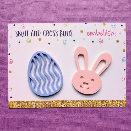 Cute Bunny and Egg Jumbo Embellish! Set of 2