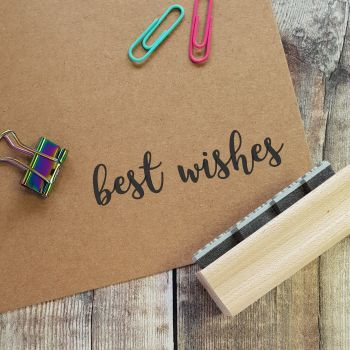 Best Wishes Script Rubber Stamp