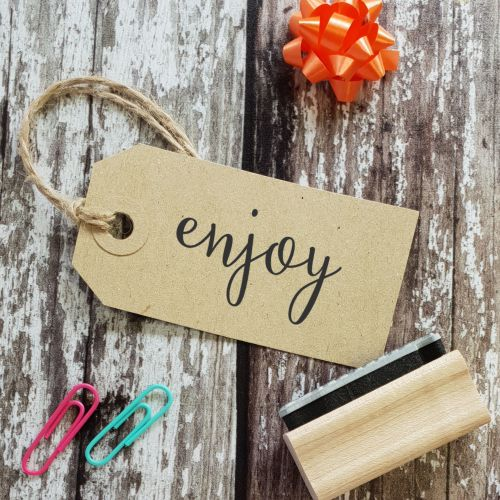 Enjoy! Calligraphy Rubber Stamp