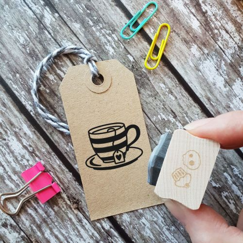 Tea Cup Stripey Rubber Stamp