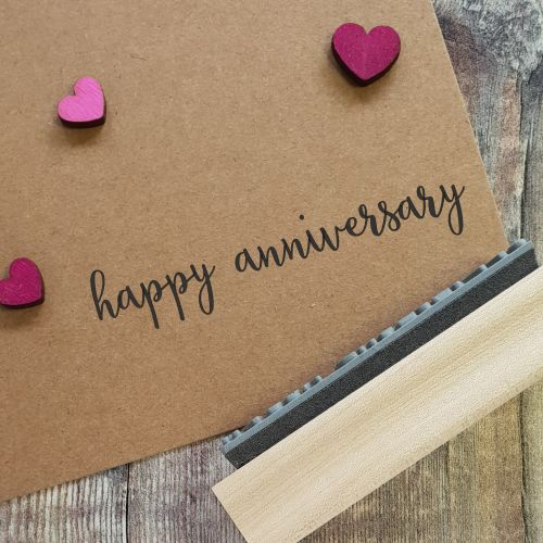 Happy Anniversary Calligraphy Rubber Stamp