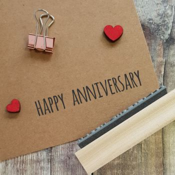 Happy Anniversary Skinny Font Rubber Stamp
