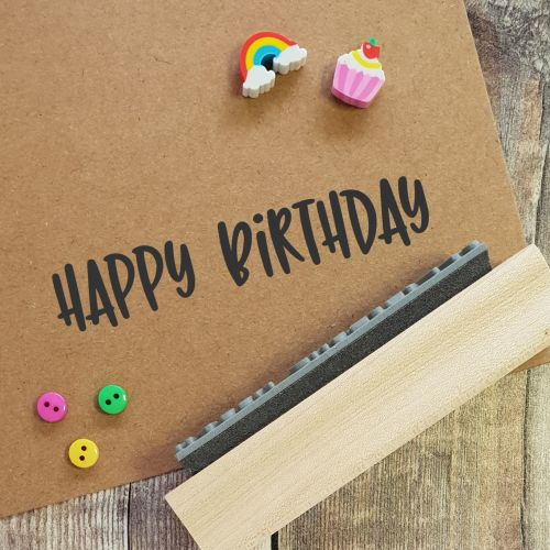 Happy Birthday Quirky Rubber Stamp