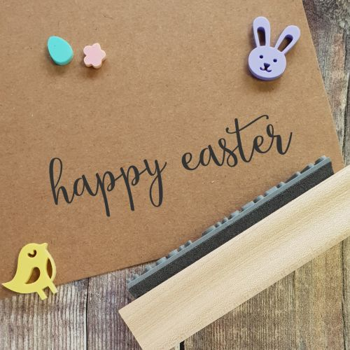 Happy Easter Calligraphy Rubber Stamp