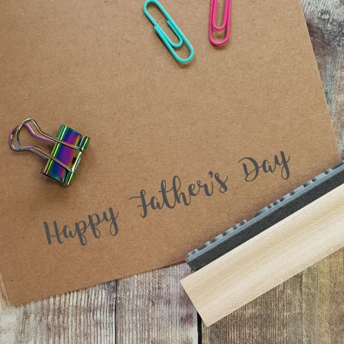 Happy Father's Day Script Rubber Stamp