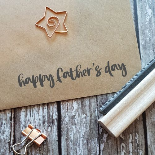 Happy Father's Day Brushstroke Rubber Stamp