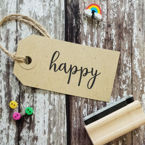 Happy Calligraphy Rubber Stamp