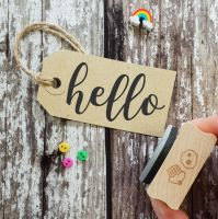 Hello Large Script Font Rubber Stamp