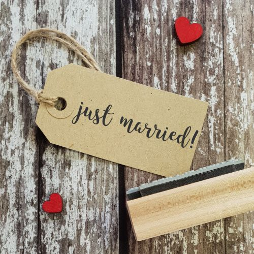 Just Married! Calligraphy Rubber Stamp