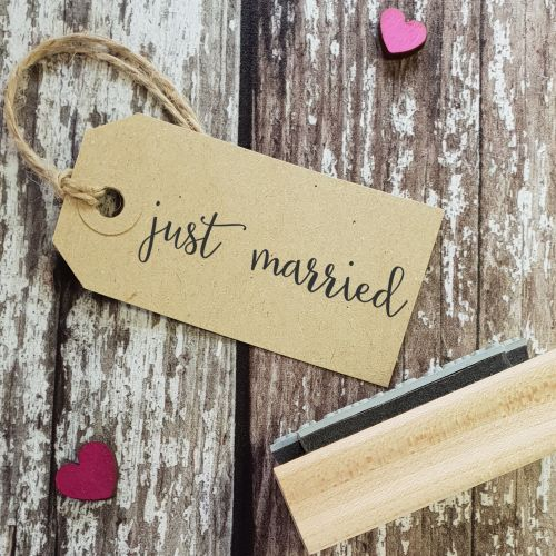 Just Married Calligraphy Rubber Stamp