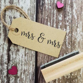 Mrs & Mrs Script Font Rubber Stamp