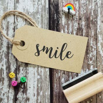 Smile Script Font Rubber Stamp