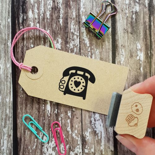 Retro Telephone Rubber Stamp