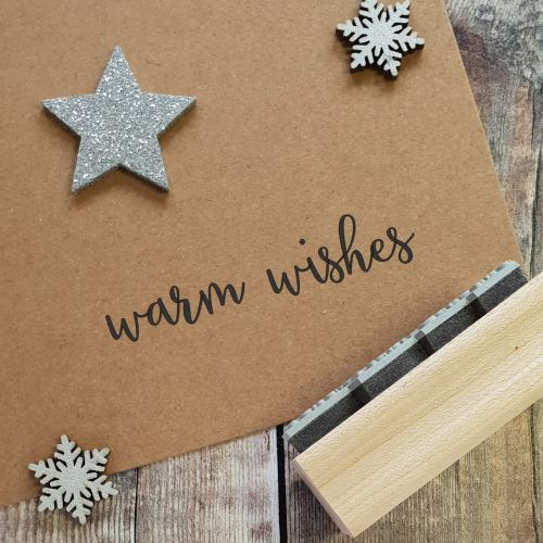 Warm Wishes Script Rubber Stamp