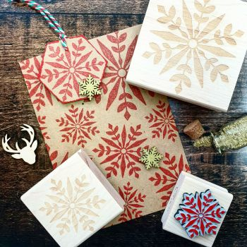 Christmas Geometric Snowflake Large Rubber Stamp