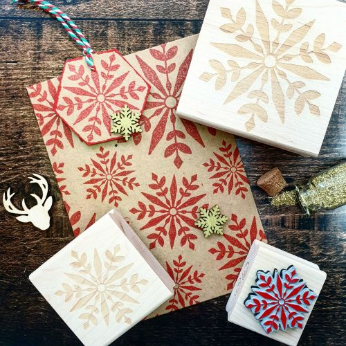 *****NEW FOR XMAS 2019 - Christmas Geometric Snowflake Large Rubber Stamp P