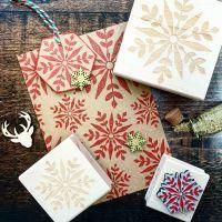 Christmas Geometric Snowflake Medium Rubber Stamp
