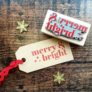 Christmas Merry & Bright Rubber Stamp