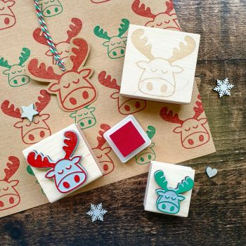 Christmas Moose Large Rubber Stamp