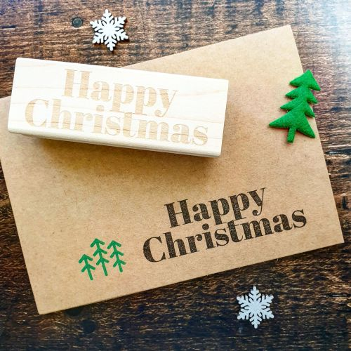 *****NEW FOR XMAS 2019 - Happy Christmas Contemporary Rubber Stamp PRE-ORDE